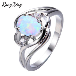 Wholesale Oval Vintage Ring - whole saleRongXing Classic Oval White Fire Opal Rings For Women Vintage 925 Sterling Silver Filled Birthstone Ring Fashion Jewelry RP0199