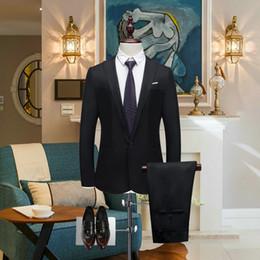 Hombres de traje de negocios online-Hombres de lujo traje de boda Blazers masculinos Slim Fit trajes para hombres traje formal de negocios fiesta formal trajes de desgaste (chaqueta + pantalones)