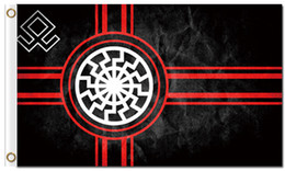 Bandeira do sol negro on-line-Impressão digital personalizado 3x5ft Black Sun Bandeira 90x150 cm Poliéster Kolovrat Eslavo Símbolo Sol Roda Svarog Solstício Runes Bandeira
