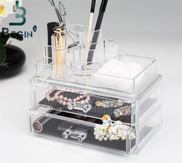 Wholesale clear plastic shoe boxes - MOZSLY Makeup Organizer Acrylic Storage Box Clear Cosmetic Drawers Jewelry Drawer Multi-function Makeup Brush Box