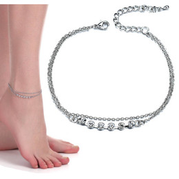 Wholesale beach jewelry charm - Women Summer Beach Jewelry Full Crystal Anklets Flower Charms Foot Chain Ankle Bracelet Barefoot Sandal Silver drop ship 320105