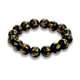 Wholesale Om Beads - Tibetan Buddhism charm Black nature Beads Bracelets Men Six Words Mantras OM MANI PADME HUM Buddha Bracelet