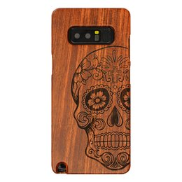 Wholesale engrave wood cover - For Samsung Note 8 full wood protective shell, with unique style rosewood laser engraving Skull pattern art cover For Samsung Note 8