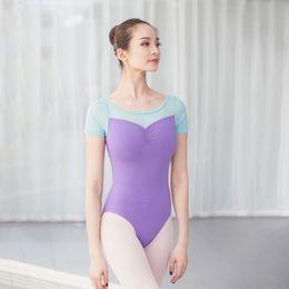 1fbff98983 gymnastics leotard high neck leotard deep V neck long sleeve mesh women