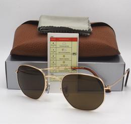 Scatola di occhiali da sole del marchio designer online-Occhiali da sole esagonali da uomo di alta qualità in vetro di alta qualità con occhiali da sole e occhiali da sole