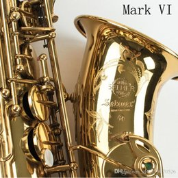 Caixas de sax alto on-line-Nova Selmer Nível Cópia Mark VI Alto Saxofone Perto Mint 97% Original Laca Sax Alto Sax Eb com bocal, caso, luvas