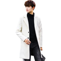 Wholesale Blue Trench Coats - White Men's Windbreaker Jacket Fashion Business Casual Men Long Coats Young Slim Warm and Comfortable Clothing Khaki Blue Trench