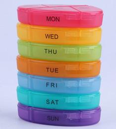 Pastillas para tabletas online-2018 medicina portátil semanal Rainbow píldora de almacenamiento 7 días Tablet Sorter caja contenedor organizador cuidado de la salud 300pcs