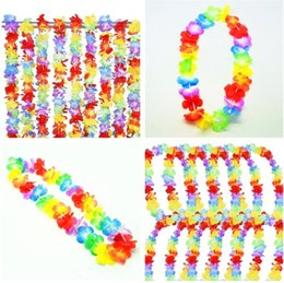 Wholesale hawaii wreath - Hot sale colourful performing wreath artificial Flower Hawaii wreath Flower Necklace Masquerade Cheer Party Decoration T3I0184