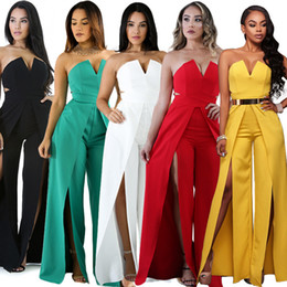 Roter spandex spielanzug online-sexy schlitz club wear bodysuits strampler trägerlosen schatz overall für frauen weiß schwarz rot grün gelb overall anzug kleid tragen