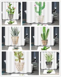 2019 cacto impressão Planta em vasos de Poliéster Cortina de Chuveiro À Prova D 'Água Cactus 3D Impressão Digital Cortina de Banho Casa Decoração Do Banheiro 180 * 180 cm desconto cacto impressão