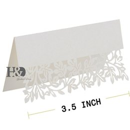 Wholesale Wedding Laser Card - Ivory Hollow out Leaf Laser Cut Paper 120 pcs Souvenirs Name Place Card for Glass Cup Table Party Wedding Favors Decoration