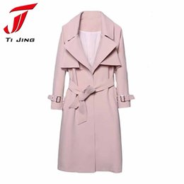 Wholesale Windbreaker Button Down - New Korean Trench Coat for Woman 2017 Spring Autumn Fashion Pink Turn down Collar Breasted Waistband Windbreaker Coat B5488