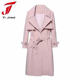 Wholesale Korean Down Coat Women - New Korean Trench Coat for Woman 2017 Spring Autumn Fashion Pink Turn down Collar Breasted Waistband Windbreaker Coat B5488