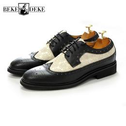 scarpe la natura Sconti Italian Designer Uomo Ricamo con impunture Derby Scarpe Punta a punta Scarpe da sposa brogue Scarpe Lace Up Nature Scarpe formali in pelle