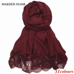 Wholesale Wholesale Luxury Scarves - Luxury Lace edges scarf pearls new design plain lace shawl cotton viscose muslim scarves hijabs fashion beads scarf Eid gifts
