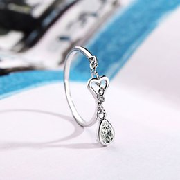 Wholesale new indian cute girls - Woman New Fashion Silver Color Water Droplets Ring For Women Opening Adjustable Cute Heart-shaped Crystal Ring Girl Jewelry R310