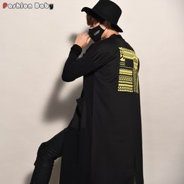 Wholesale winter trench coat big men - Wholesale- Men's Unique Yellow Applique Loose Trench Coats Fashion Big Pockets Cardigan Overcoat Autumn Winter 2017