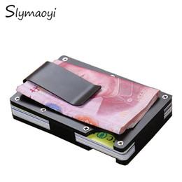 Slymaoyi Métal Mini Argent Clip Marque De Mode Noir Argent Carte De Crédit ID Titulaire Avec RFID Anti-chef Portefeuille ? partir de fabricateur