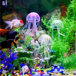 Decoración del tanque de medusas online-Efecto resplandeciente Artificial Jellyfish Fish Tank Decoración del acuario Mini Submarine Ornament Decoración subacuática del animal doméstico con Retail Packaging Box