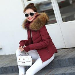 Wholesale Large Faux Fur Hats - 2017 Autumn Winter Jacket Women Parkas for Coat Fashion Female Down Jacket With a Hood Large Faux Fur Collar Coat