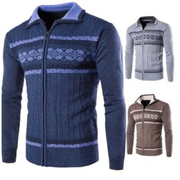 Wholesale Office Works Computers - fashion 2017 Cotton Knitwear Men Sweater zipper office slim colors homme warm knitted Vneck patchwork long sleeve coat XXL male