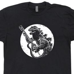 Tees de guitarra online-Dinosaurio tocando la guitarra Camiseta Vintage Guitar Tee Tee acústico eléctrico Tokio Japón