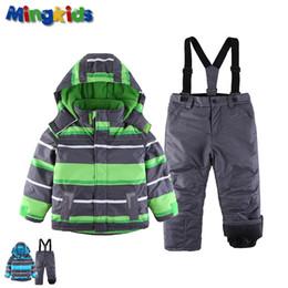 Wholesale 5t snowsuit - Mingkids Snowsuit toddler Boy Ski set Outdoor Winter Warm Snow Suit hooded waterproof windproof padded European Size