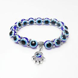 contas de pulseira mão hamsa Desconto Atacado Sorte Fatima Hamsa Mão Azul Evil Eye Encantos Pulseiras Bangles Beads Turco Pulseras Para As Mulheres 2018 Novas Jóias KKA2009