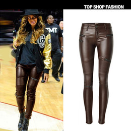 e9bc9348766 Fake Leather Wet Look Gothic Shiny Wet Look Beautiful PU Leggings Women  Large Size Summer Brown Pants shiny leggings TOP230