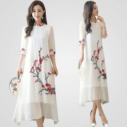 chinese robes women Promo Codes - Chinese traditional gown Plum blossom pattern dress long summer qipao dress robe Chinese modern cheongsam women elegant Ethnic Clothing