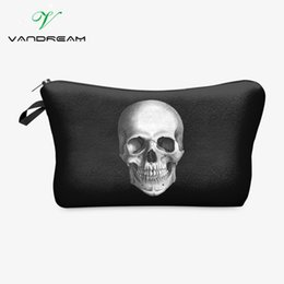Wholesale Skull Design Bags - New skull old-school handbag Maleta de Maquiagem Necessaire Wild Party design Makeup Bag Women Organizer kids Stationery purse