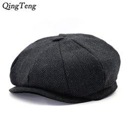 Octagon Herringbone Newsboy Cap Vintage Men Cotton Beret Casual Newsboy  sombreros Cabbie Cap para mujeres sombrero plano Dropshipping c9d67eed765