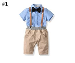 baby brace suit Coupons - Boy Short Sleeve T-Shirt and Short Pants with Braces Set Four Pieces Baby Spring and Autumn Tops + Bowknot +Suspenders Suit Kids Clothes