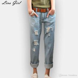 fd98d45e902 Оптовая продажа-Лива девушка большой размер женщины жир мм талия Джинсы  восьмое отверстие джинсы женские джинсовые для женщин рваные джинсы 2017  лето