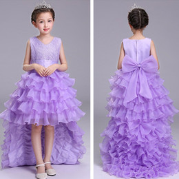 Wholesale Girls Long Tail Dress - Kids Girls Wedding Dresses 3-12Y Baby Girl Bridesmaid Long Tail Dress Infant Princess Tulle Cake Dress for Party Children Clothing D766