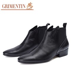 2020 marcas de botas italianas GRIMENTIN venda Quente marca mens botas de couro genuíno preto confortável macio vestido de homens sapatos italiano designer de moda formal ankle boots masculinos marcas de botas italianas barato