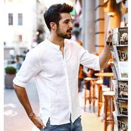 ropa de lino puro Rebajas Verano Nuevas Camisas Casuales Hombres Transpirable Lino Puro Fashiom Tres Cuartos Slim Fit Marca Ropa Nuevo