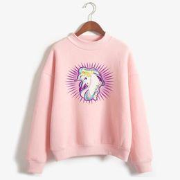 Wholesale Fleece Turtleneck Women - Unicorn Hoodies Female Long Sleeve Fleece Turtleneck Sweatshirt New Fashion Harajuku Hip Hop Hoodies Unicorn