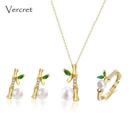 Conjunto de jóias de ouro delicado on-line-Vercret 925 conjunto de jóias de prata esterlina colar de pérolas de água doce anel brinco set 18 k ouro delicado jóias de bambu mulheres presente