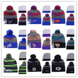 Wholesale Cheap Pom Hats - 2018 new Cotton All Team Football Pom Pom Beanies Men Women Winter Hats With Pom Cheap Sports Skull Caps Hot Sale free shipping mixed order