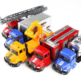 Wholesale Red Fire Truck - Alloy car model toys 1:64 mini drop-resistant excavator fire truck rescue car window box packaging 12 models free shipping