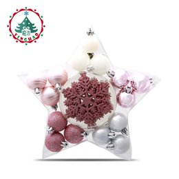 Wholesale Pink Christmas Ornaments Balls - Wholesale-inhoo 24PCS 4cm Christmas Tree Ball Baubles Xmas Party Snowflake Wedding Hanging Ornament Christmas Decoration Supplies for Home