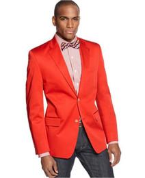 28104641f54c 2019 vestiti rosso su misura Tailor Made Red Satin Casual Blazer Slim Fit  Uomo Prom Wedding
