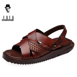 Wholesale straw shoes men - Chalichali Summer Luxury Genuine Leather Gladiator Sandals Men Shoes Classic Sandalias Casual Slippers For Mens Sandales