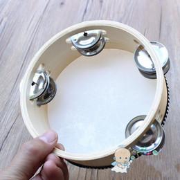 instruments à percussion à cloche Promotion Main Double Tambourin Instruments de percussion Enfants Jouets en bois Bell Petite Enfance Enseignement Sense de l'exercice rythmique 18hy5 W