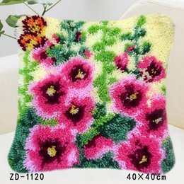 Wholesale Hooked Rugs - Flowers And Plants Patterns Pillowcase Printed Cushion Cover Latch Hook Rug Kits Needlework Home Sofa Chair Decoration Festival Gifts