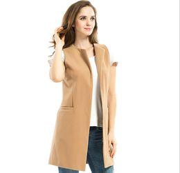 chemisier sans manches chaud Promotion Livraison gratuite vente chaude femmes mode gilet 2019 mode manteaux coréens dames, plus la taille mince longue blouse sans manches gilets manteau femmes