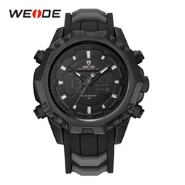 Wholesale Led Light Up Pins - WEIDE Men Sport Watches Analog Quartz Movement Digital Display Day Back Light Alarm Black Silicone Strap Buckle Date Wristwatch