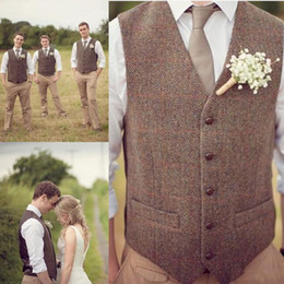 Wholesale custom waistcoats - Groom Vests Country Farm Wedding Brown Wool Herringbone Tweed Vests Custom Made Groom Vest Slim Fit Mens Suit Vest Prom Wedding Waistcoat